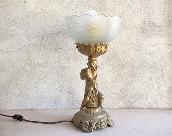 1966 Loevsky & Loevsky White Metal Casting Single Cherub Lamp with Glass Shade Victorian Style