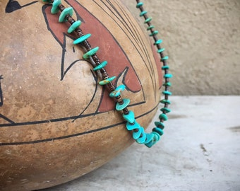 Turquoise Nugget Choker Necklace for Women, Old Pawn Native American Indian Jewelry, Real Turquoise