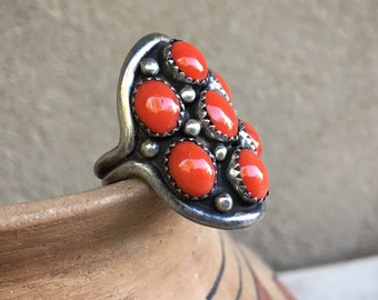 Vintage Navajo Coral Snake Eye Shield Ring (Re-Size No Charge), Native America Indian Jewelry
