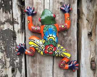 Talavera Frog Wall Hanging Southwestern Mexican Decor, Patio Gate Decoration, Toad Reptile Lover Gift