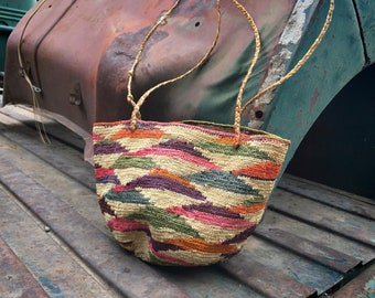 Very Old Andean Finely Woven Grass Purse Faded Pink Multicolor, Vintage Antique Peruvian Bolivian Textiles Collectible, Coca Gathering Bag