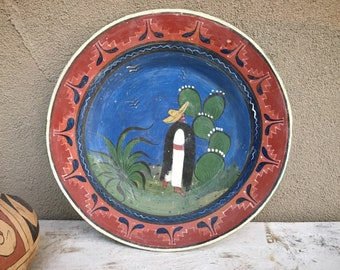 "15"" Extra Large Old Mexico Tlaquepaque Pottery Charger Plate Wall Decor Traditional Mexico Scene"