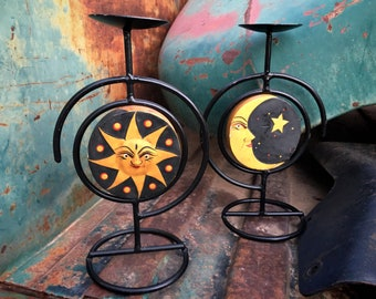 Pair of Vintage Sun and Moon Painted Wood and Metal Candle Holders, Celestial Folk Art