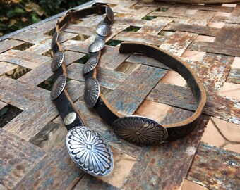 Small Narrow Vintage Sterling Silver Concho Belt for Women Native American Indian Jewelry