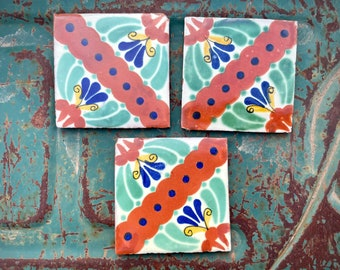 Three Chipped Vintage Mexican Ceramic Tiles Green Terra Cotta for Mosaics, Rustic Talavera Style