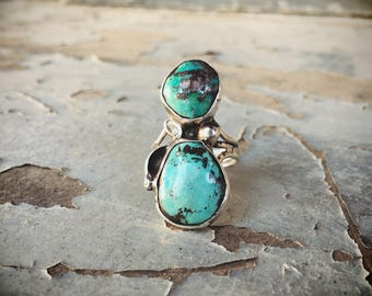 Turquoise Ring Sterling Silver Navajo Jewelry, Southwestern Jewelry, Girlfriend Gift