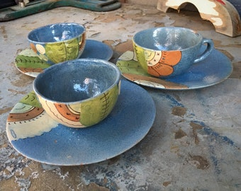 1940s Blue Tlaquepaque Pottery Tea Cups and Saucers with Floral Design, Southwest Rustic Home Decor