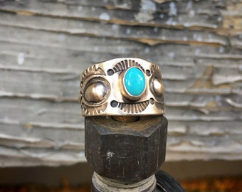 Size 10 Stamped Sterling Silver Cigar Band Turquoise Ring for Women or Men, Navajo Native American Indian Jewelry, Southwestern Gift Him