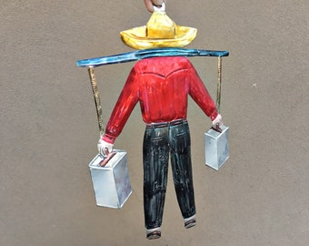 Large Mexican Tin Wall Art of Man Carrying Metal Food Warmer Shoulder Yoke, Southwestern Home Wall Decor