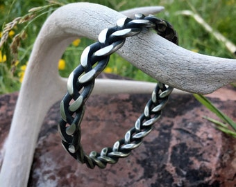 Braided Coin Silver Bangle Bracelet for Men or Women, Native American Style Southwestern Jewelry