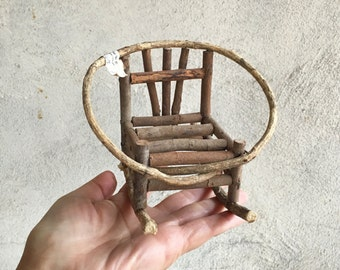 Miniature Rocking Chair Willow Furniture, Vintage Doll Furniture, Rustic Chair