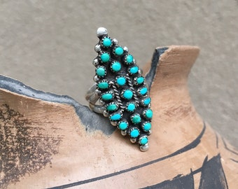 Vintage Turquoise Ring for Women Size 7 Old Pawn Silver Snake Eye Ring, Zuni Native American Indian Jewelry