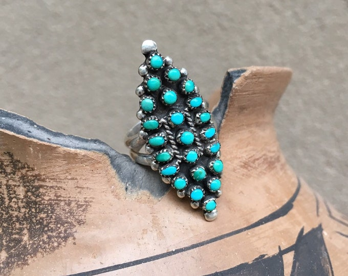 Featured listing image: Vintage Turquoise Ring for Women Size 7 Old Pawn Silver Snake Eye Ring, Zuni Native American Indian Jewelry