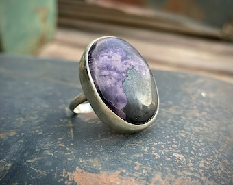 Purple Petrified Wood Ring by Hopi Bennard Dallasvuyaoma, Native American Indian Jewelry for Her