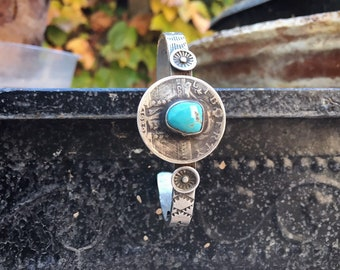 Silver Turquoise Bracelet for Women or Men 1929 Liberty Quarter Coin Jewelry, Native American Indian Jewelry