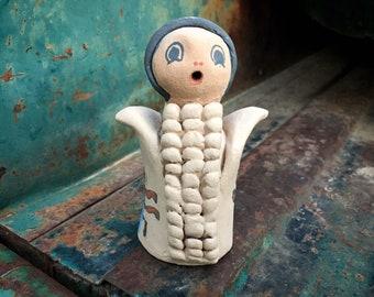 Ceramic Corn Maiden Pottery Figurine by Jemez Potter Candice Loretto, Native American Arts Crafts