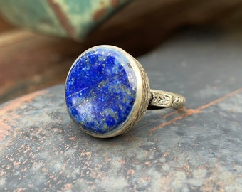 Vintage Lapis Lazuli and Old Silver Tribal Ring Size 9.75, Arabic Middle Eastern Nomadic Jewelry