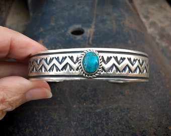 Stamped Sterling Silver Turquoise Cuff Bracelet by Navajo Delbert Delgadito, Native America Indian Jewelry for Women or Men, Unisex Style