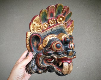 Vintage Hand Carved and Painted Balinese Wood Mask Barong Topeng, Indonesia Folk Art Tribal Decor