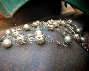 "Vintage 60"" Long Silver Tone Mexican Wedding Necklace, Lasso Ball Link Chain, Bohemian Jewelry"