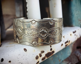 Vintage Sterling Silver Cuff Bracelet for Small Wrist, Navajo Native American Indian Jewelry