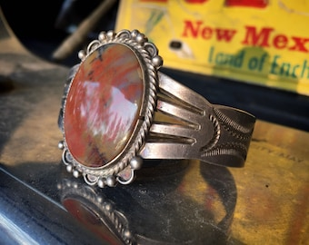 Fred Harvey Era Petrified Wood Sterling Silver Cuff Bracelet, Native American Indian Jewelry