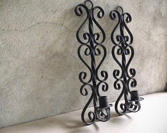 Pair of Wall Mounted Mexican Wrought Iron Candle Holders, Rustic Sconces Spanish Revival Candelabras