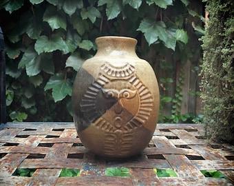 Midcentury Modern Pottery Craft USA vase sun face earthtone ceramic stoneware Robert Maxwell style