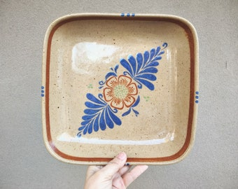 Vintage El Palomar Stoneware Pottery Square Dish Platter Mexican Pottery Southwestern Decor