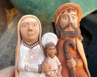 Peruvian Pottery Folk Art Holy Family Figurine, Southwestern Decor, Ayachucho Ceramics Terracotta