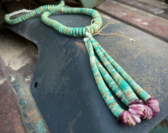 Turquoise Heishi Necklace with Jacla by Santo Domingo Chris Ely Montoya, Native American Jewelry