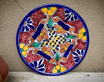 "10-1/4"" Mexican Talavera Plate Wall Hanging Blue Yellow, Rustic Southwestern Home Decor, Folk Art"