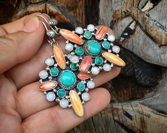 Navajo Wayne Ettsity Turquoise Spiny Oyster Mother of Pearl Cluster Earrings, Native America Jewelry