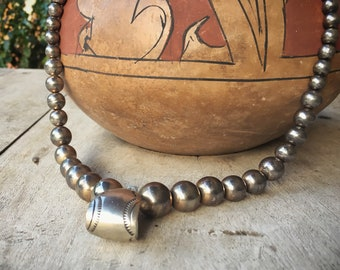 Silver Bead Southwestern Necklace for Women, Navajo Pearls Native American Style Jewelry