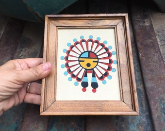 Small Framed Navajo Sand Painting of The Great God Spirit, Vintage Southwestern Decor Native Style