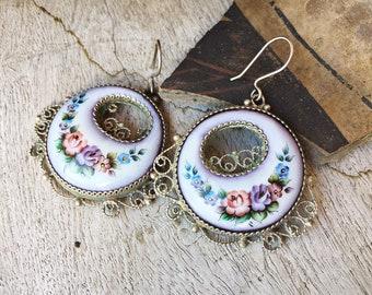 Vintage Russian Enamel Cloisonné Earrings, Rostov Finift, Filigree Porcelain Jewelry