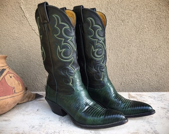 Vintage Nocona Teju Lizard Green Cowboy Boots Women's Size 5 B, Cowgirl Boot