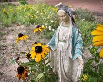 Distressed Virgin Mary Plastic Plaster Statue, Home Altar Saint Madonna, Old World Rustic Home