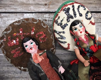 Vintage Mexican Souvenir Dolls Couple Wife and Husband in Traditional Costume, Granddaughter Gift, Collectible Dolls