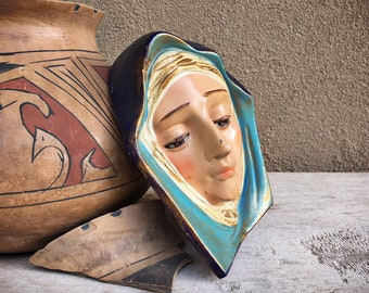 Vintage Ceramic Plaster Mother Mary Wall Plaque Religious Decor, Madonna Wall Art, Virgin Mary Catholic Gift