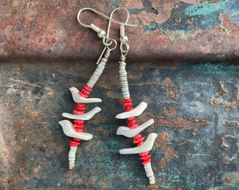 Vintage Mother of Pearl Bird Fetish Red Chip Coral Dangle Earrings for Women, Native American
