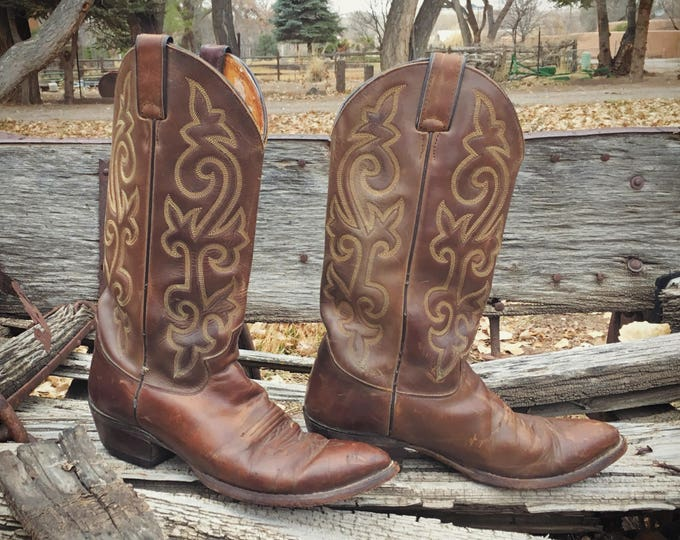 Featured listing image: Vintage Cowboy Boot Men's Size 8 D Justin Brown Leather Boot, Western Boots for Men