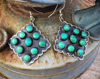 Large Turquoise Cluster Dangle Earrings, Navajo Native American Indian Jewelry