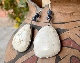 Huge Dangle Earrings with Creamy White Tan Agate Stone Sterling Silver Border, Southwestern Style