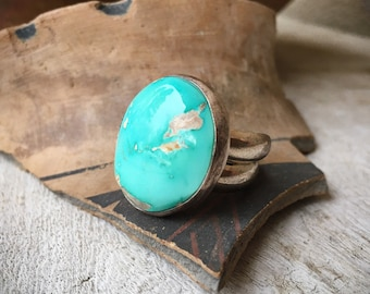 Round Turquoise Ring Size 7.5, Navajo Native America Indian Jewelry, Real Turquoise, Men's Ring