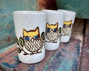 Three Japanese Stoneware Glasses Off White with Owl Design, Vintage Otagiri Pottery Drinkware