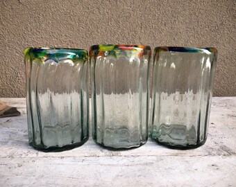 Three Mexican Blown Glass Tumblers Clear with Multi Color Rim, Chunky Glass Mexican Kitchen Bungalow