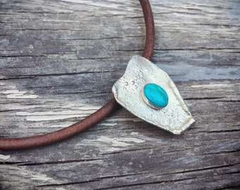 Sterling Silver Turquoise Pendant Choker Necklace on Leather Cord, Native American Hippie Choker
