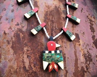 Depression Era Santo Domingo Pueblo Thunderbird Necklace (Restrung), Old Pawn Native American Indian Jewelry
