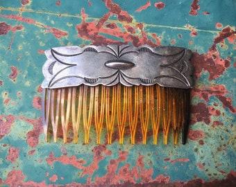 Fred Harvey Era Sterling Silver Hair Comb, Native American Indian Hair Accessory
